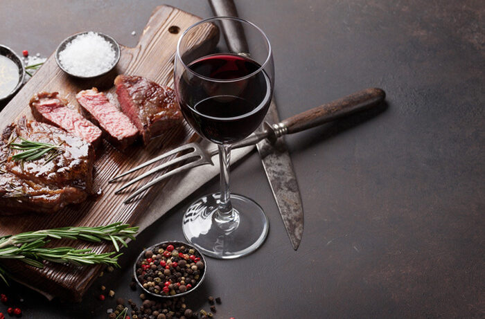 grilled ribeye beef steak with red wine herbs and spices